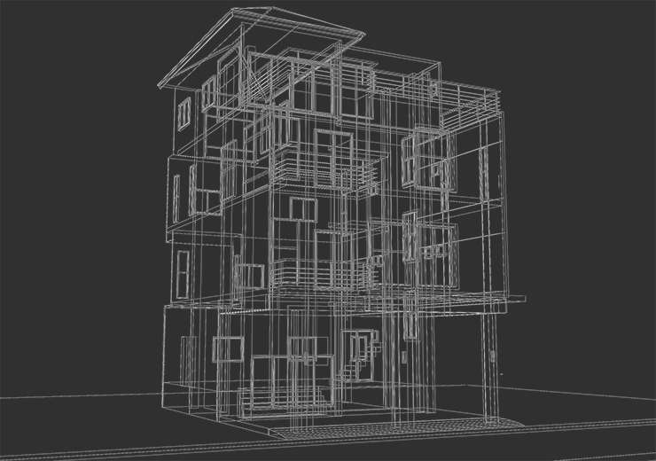 abstract sketch design of house